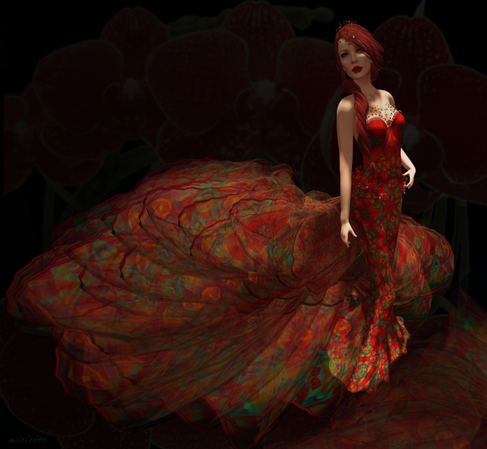 Snowpaws Red Orchid gown